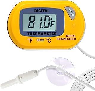 SunGrow 爬行动物黄色数字温度计,防水传感器探头精确监测温度,包括可更换电池,易读显示,1 件装