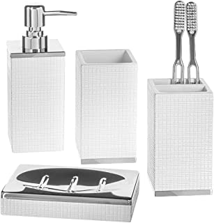Creative Scents 浴室配件套装 - 4 件套白色浴室套装配件带银色底座 - 牙刷架套装包括皂液器、牙刷架、平底杯、肥皂碟(埃斯特拉)