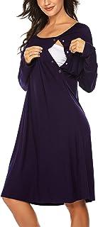 Ekouaer 女式护理/分娩/劳动睡衣长袖孕妇睡衣,带纽扣