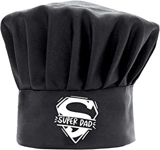 男士厨师帽趣味黑色,Super Dad 烹饪帽,可调节厨房厨师帽,适合父亲节、圣诞节的礼物