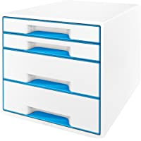 Leitz 利市 WOW CUBE 抽屉式文件盒 4 Schubladen blau metallic