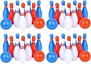 Gamie 儿童保龄球套装,4 套,每套包括 10 个球钉和 2 个球,耐用塑料室内和室外游戏,趣味狂欢节和生日派对活动 适合男孩和女孩