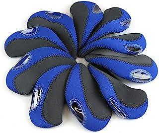 10 件高尔夫球杆头套,耐用双色保护球杆头套,专业球杆盖推杆保护高尔夫配件球杆头套,蓝色