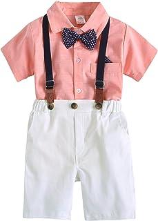 男婴绅士服装套装,短袖衬衫短裤背带蝴蝶结 4 件正式燕尾服套装 1-7 岁