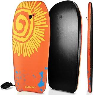 Panda Eye Bodyboard,轻质Boogie Board 带卷绕腕带,EPS 核心光滑顶层和高速 HDPE Slick Bottom 耐用,适合儿童和成人 37 英寸/41 英寸