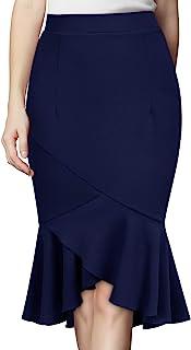 Knitee 女式商务修身褶边开叉紧身铅笔裙