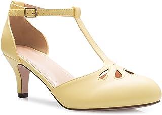 OLIVIA K 女士小猫低跟 T 型绑带高跟鞋 - 可爱的复古复古复古鞋带 - 独特的上镂空设计