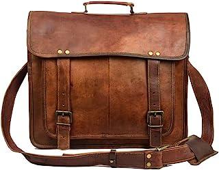 Leather Messenger Bag for Men Vintage Laptop Briefcase Satchel Best Computer Bag Brown