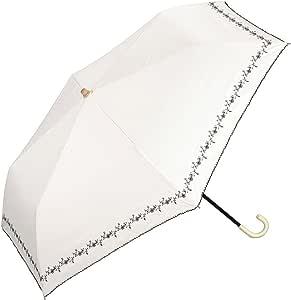 Wpc. 太阳伞 折叠伞 米白色 白 50cm 女士 附收纳伞袋 遮光 碎花刺绣 迷你 801-622 OF