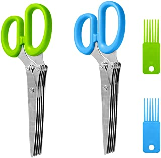 MIAO JIN 2 件不锈钢*剪刀快速切割切片切碎,带 5 个锋利刀片和清洁梳,适用于切割香兰花洋葱沙拉切割纸