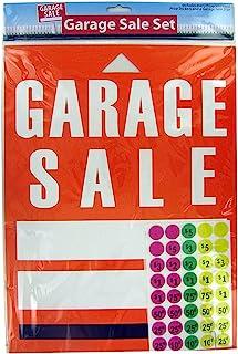 橙色车库销售悬挂标志板,带 200 张霓虹色价格标签贴纸   夏季、假日销售活动的横幅标签