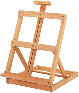 KINGART 重型桌面木制 H 框架工作室画架,自然饰面