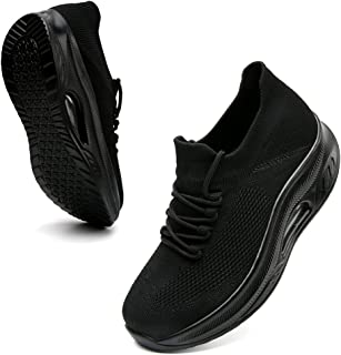 VOCNTVY 女式步行鞋足弓支撑轻质系带网球运动鞋