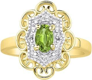 RYLOS 花卉图案戒指 椭圆形宝石和纯正闪亮钻石 14K 黄金镀银 .925-6X4MM 彩色石头诞生石戒指 Green Peridot August