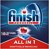 Finish 多效合一洗碗机用洗涤块 无磷酸盐 洗涤块带有Powerball清洁球 可去除顽固油污 3个月用量,182片…