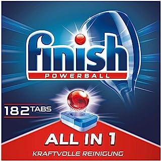 Finish 多效合一洗碗机用洗涤块 无磷酸盐 洗涤块带有Powerball清洁球 可去除顽固油污 3个月用量,182片巨量装