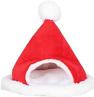 TOPINCN 小型宠物加厚床房圣诞帽形状猫床小动物棉房为您的小动物朋友保暖