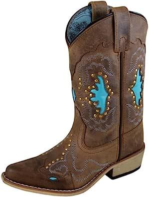 Smoky Mountain 儿童月球湾镶嵌设计尖头棕色仿旧/蓝绿色靴子