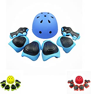 UniqueFit KEKLLE 儿童户外运动防护装备 7件套装 适合男孩和女孩 单车头盔安全垫套装[护膝和护腕] 轮滑滑板车等