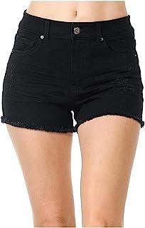 Wax 女式青少年经典高腰弹力仿旧短裤