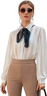 Verdusa 女式前纽扣灯笼袖透明纱衬衫