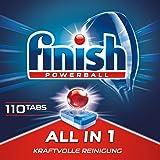Finish 多效合一洗碗机用洗涤块 无磷酸盐 洗涤块带有Powerball清洁球 可去除顽固油污,简装110片