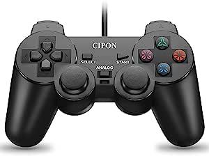 有线控制器替换件适用于 PS2 控制器,CIPON 黑色遥控器兼容索尼 Playstation 2 控制台