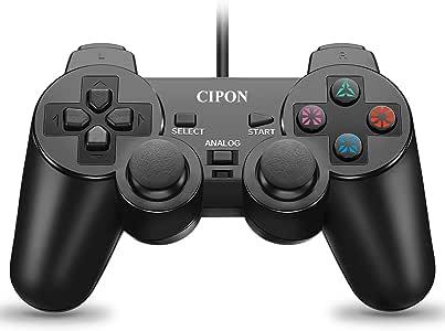 PS2 控制器有线 Cipon 黑色双震游戏手柄,适用于 Sony Playstation 2/Playstation 1,*版