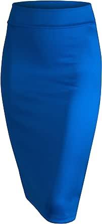 Made By Johnny 女式修身中长款铅笔裙 - 美国制造 Wb700_royal_brite Large
