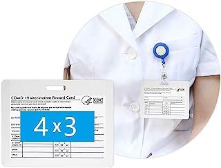 NARDO 8 件装透明 CDC 疫苗接种卡保护套 4 X 3 英寸(约 10.2 X 7.6 厘米)适用于 CDC *徽章,防水未密封水平透明 PVC 袖章,用于身份名标签,带 3 个挂绳插槽,用于活动旅行