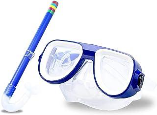 儿童*管套装青少年浮潜装备儿童硅胶水肺潜水浮潜眼镜套装*管设备适合 4-8 岁男孩和女孩