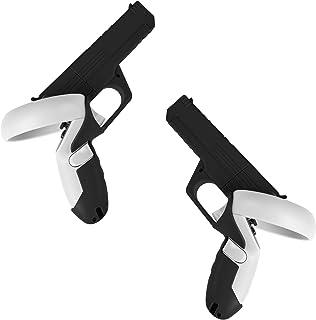 (1 对)Ermorgen VR 控制器枪套兼容 Oculus Quest 2,增强 FPS 游戏体验,适用于 VR 射击游戏,易于安装的硬 PC 外壳控制器盖 - 黑色
