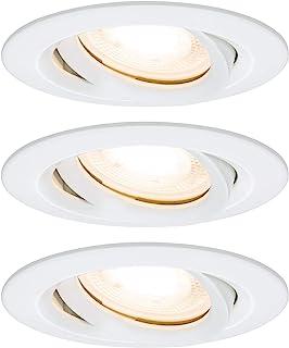 Paulmann 柏曼 92898 Nova 嵌入式LED聚光灯 圆形 IP65 7W 3 件套包括 GU10 灯泡 可旋转嵌入式 铝 7 W 哑光白色