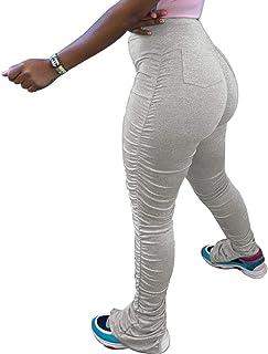 Fastkoala 叠层打底裤,性感喇叭下摆褶皱长裤,紧身紧身裤,带口袋