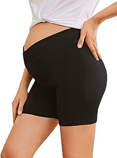MakeMeChic女式孕妇锻炼运动肚脐瑜伽孕妇短裤