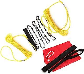 48 英寸(约 121.9 厘米)手绳链锯户外口袋园艺高范围树木四肢链锯适用于露营、狩猎、树木切割、徒步旅行、背包(121.9 厘米)绳柄)