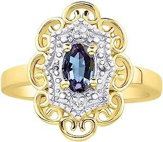 RYLOS 花卉图案戒指 椭圆形宝石和纯正闪亮钻石 14K 黄金镀银 .925-6X4MM 彩色石头诞生石戒指 Alexandrite June
