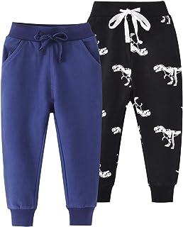 Azalquat 男幼童棉质慢跑裤,套穿式卡通图片运动裤(1 件装或 2 件装)