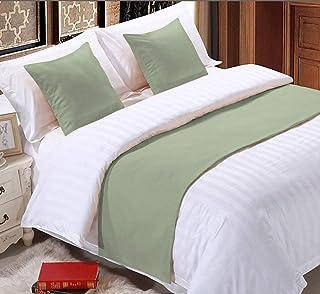 Mazhar 床上用品 800 支纯色 1 件 45.72 厘米床边围巾保护沙发床装饰围巾(加州大号双人床(108 X 18),鼠尾草)