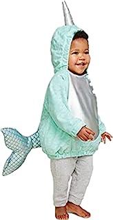 婴儿中性款毛绒面料套头连帽独角鲸独角兽套穿式淡彩色动物主题