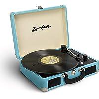 Byron Statics 黑胶唱片播放器 3 速转盘录音机 带 2 个内置立体声扬声器,替换针支持 RCA 线输出 A…