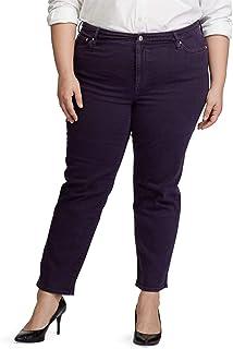 Ralph Lauren 女士紫色拉链直筒裤尺码 16W