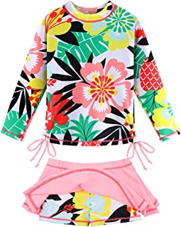 TFJH E 女孩泳衣长袖泳衣两件套*服裙 UPF 50+