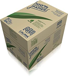 CALIMA® 天然纸复印纸,打印纸,无树,无漂白,循环使用100%糖管,可持续,DIN A4 72克/平方米,自然色,(2500张 = 5包每500页),回收