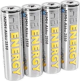 HEITECH AA 电池 Mignon 2550 mAh 1.2 V 镍氢电池 TÜV 测试 4 件 可充电电池 低自放电电池 适用于高耗电量设备
