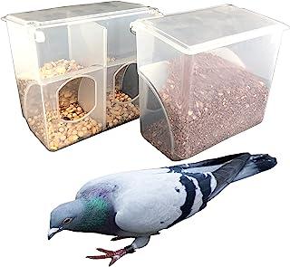 自动鸽子喂食器 - 2 件装鹦鹉喂食笼配件用品 适用于长尾鹦鹉金丝雀