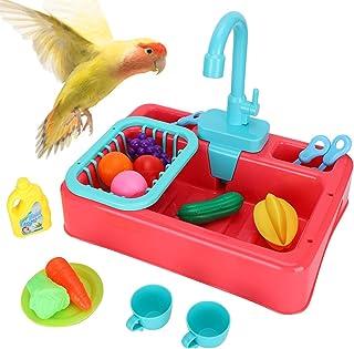 Yoruii 鹦鹉浴缸自动浴缸带水龙头自动浴盆,多功能新款鸟浴盆,鸟浴用品,小鹦鹉淡黄色(粉色)