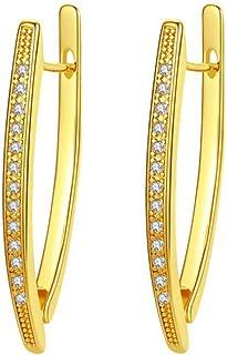 银金色水钻 V 型耳环闪亮吊坠