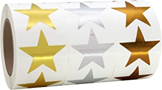 3.81 厘米金属金、银色和青铜星星形状铝箔贴纸标签,每卷 500 个标签,3 卷,1-1/2 英寸
