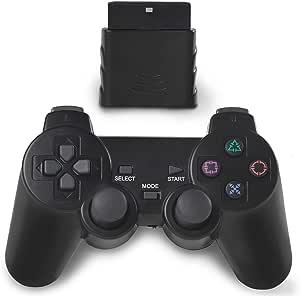 OUBLANC 无线控制器 PS2,2.4G 双振动游戏控制器游戏手柄遥控器,适用于 Sony 索尼 Playstation 2/PS2(1 包 Jet 黑色)